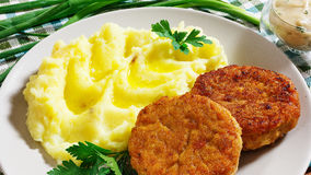 Juicy fried meat cutlets with mashed potatoes Royalty Free Stock Photo