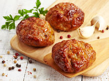 Juicy fried meat cutlets Stock Photos
