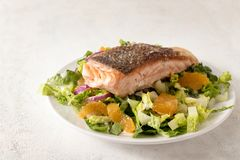Juicy fried salmon fillet with crispy crust on salad with tanger royalty free stock image