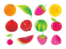Juicy fruit. Set from juicy fruit and ripe berries Stock Images