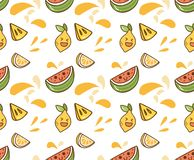 Juicy fruit kawaii background royalty free illustration