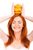 Juicy fruit over woman head Stock Image