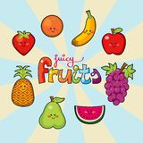 Juicy fruits. Happy face juicy fruits colorful macedonia Royalty Free Stock Photos