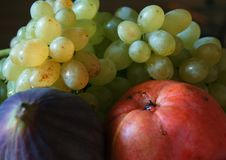 Juicy fruits. Fruit-piece with the bunch of grapes, apple and fig Royalty Free Stock Photo