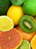 Juicy fruits. Grapefruit, lemons, oranges, avocado, limes and kiwi fruits Stock Photography