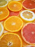 Juicy fruits. Set of different fruits. Lemon, grapefruit, orange Stock Photos