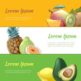 Juicy fruits banners vector set. Juicy fruits banners set. Sweet natural vitamin, pineapple pear and organic dessert, vector illustration Stock Images