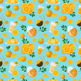 Juicy fruits and berries seamless pattern. Juice background vector orange illustration. Healthy fruit texture summer sweet citrus graphic. Vitamin health food Stock Photography