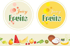 Juicy fruits. Labels and border for design stock photo