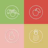 Juicy fruits linear icons set 01 Stock Image