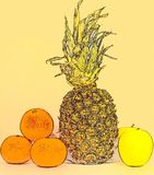 Juicy fruits. Still life of pineapple, mandarin oranges and apples on the table Royalty Free Stock Photography