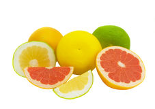 Juicy grapefruit. Juicy and bright fruits of a grapefruit isolated on the white Stock Photos