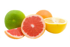 Juicy grapefruit. Juicy and bright grapefruit isolated on the white Royalty Free Stock Photos