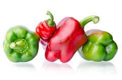 Juicy Green And Red Peppers Royalty Free Stock Photography