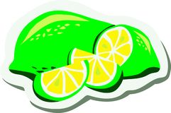Juicy green lemon, sliced ​​lime stock illustration
