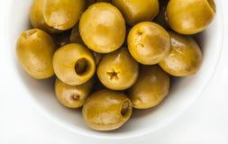 Juicy green marinated olives Stock Photography