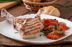 Juicy grilled pork steak Royalty Free Stock Image