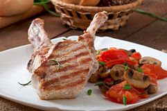 Juicy grilled pork steak Stock Photography