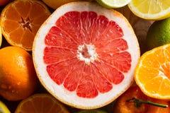 Juicy half pink grapefruit. Royalty Free Stock Images