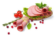 Juicy ham with greens Royalty Free Stock Photography