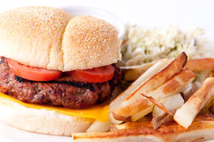 Juicy hamburger with fries and cole slaw and gravy Stock Images