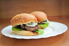 Juicy homemade burger Stock Image