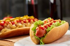 Hot dog with lettuce and tomato stock photo