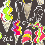 Juicy ice cream cones pattern.. Seamless hand drawn background of different ice cream. Vector illustration Royalty Free Stock Photo