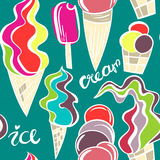 Juicy ice cream cones pattern. Seamless hand drawn background of different ice cream. Vector illustration Royalty Free Stock Images