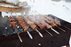 Juicy kebabs on the grill Stock Images