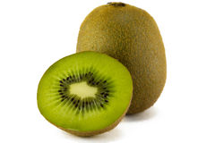 Juicy kiwi fruit isolated on white background. Stock Photos