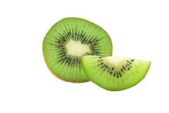 Juicy kiwi fruit isolated on white background. Whole kiwi fruit and his sliced segments isolated on white background Stock Image