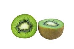 Juicy kiwi fruit isolated on white background. Whole kiwi fruit and his sliced segments isolated on white background Stock Images