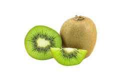 Juicy kiwi fruit isolated on white background. Whole kiwi fruit and his sliced segments isolated on white background Stock Photo
