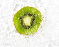 Juicy kiwi fruit in water on a white background. macro Royalty Free Stock Photography