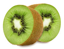 Juicy kiwi sliced to two sections Stock Photos