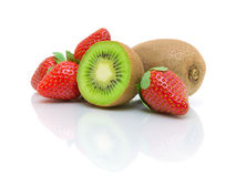Juicy kiwi and strawberries on a white background Stock Photo
