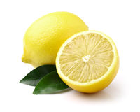 Juicy lemons with leaf Stock Image