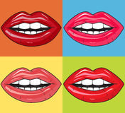 Juicy lips. On colored background Royalty Free Stock Image
