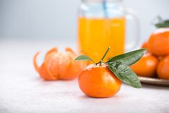 Juicy mandarins with green leaves royalty free stock photos