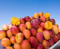 Juicy Mangos. Stack of delicious tropical Brazilian mangos Stock Photo