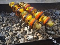 Juicy marinated in spices meat kebab on skewers, cooked and fried on a fire and charcoal barbecue grill, in the nature of snowy stock photo