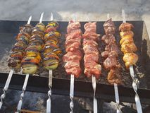Juicy marinated in spices meat kebab on skewers, cooked and fried on a fire and charcoal barbecue grill, in the nature of snowy stock photos