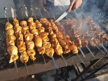 Juicy marinated in spices meat kebab on skewers, cooked and fried on a fire and charcoal barbecue grill, in the nature of snowy stock image