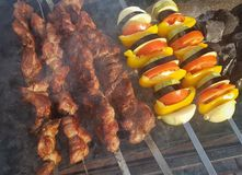 Juicy marinated in spices meat kebab on skewers, cooked and fried on a fire and charcoal barbecue grill, in the nature of snowy stock photography