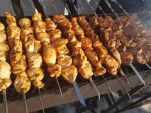 Juicy marinated in spices meat kebab on skewers, cooked and fried on a fire and charcoal barbecue grill, in the nature of snowy royalty free stock photography