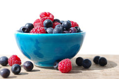 Juicy mature berries of raspberry and bilberry in a small blue bowl Royalty Free Stock Images