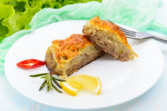 Juicy meat cutlet, baked with grated potatoes and cheese on a white ceramic plate Royalty Free Stock Photos