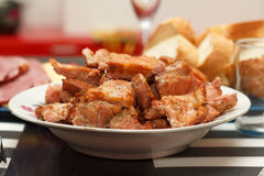 Juicy meat on white plate Royalty Free Stock Images
