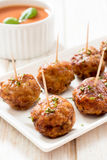 Juicy meatballs in plate Royalty Free Stock Image